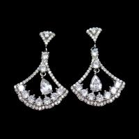 Triangle Shape Silver Cubic Zirconia Drop Earrings Charm / Vintage Jewelry Manufactures