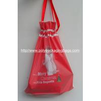 Colored Frosted Plastic Gift Bags with Tie , Drawstring Pouch Bag With Ribbon For Christmas Gift Manufactures