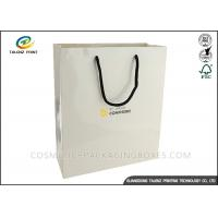 China White Card Retail Shopping Bags Hot Stamping Surface Finishing ISO14001 on sale