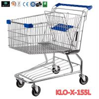 Quality 155L Hyper Market / Grocery Shopping Trolley With Transparent Powder Coating for sale