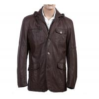 High Quality Material OEM Knitting, Size 46, Size 54, Black / Coffee Hooded Leather Coat Manufactures
