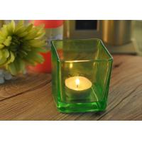 OEM Square Replacement Glass Candle Holder With Different Colors Manufactures