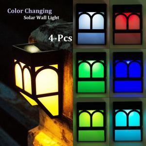 Color Changing Solar Fence Lights Multi-Color Solar Wall Lights for Garden Decor