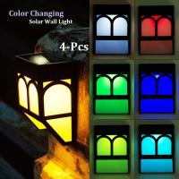 Quality Color Changing Solar Fence Lights Multi-Color Solar Wall Lights for Garden Decor for sale
