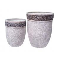 Contemporary Round Cement Garden Planters Cement Flower Pots For Courtyard / House Manufactures