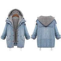 Cheap Plus size drawstring twinest hooded outwear denim coat for women Manufactures