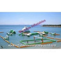 Seaside Green Inflatable Water Park, Floating Aqua Park With Volleyball Court Manufactures