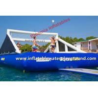 Team Play Inflatable Sports Games Floating Volleyball Court With Bouncer Manufactures