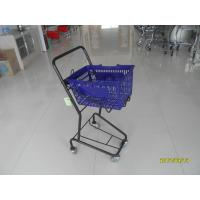Small Shop 4 Wheel Shopping Cart , Logo Shopping Basket With Wheels Manufactures