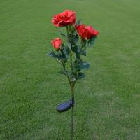 Quality 3LED Red Rose Flower Solar Lights Solar Powered Outdoor Waterproof Garden Lawn for sale