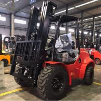Customised All / Rough Terrain Forklift , 3.5 Ton Red Steel Atv Forklift Manufactures