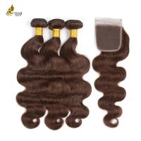 Buy cheap Body Wave Indian Hair Pre-Colored #4 Human Hair Bundles With Closure from wholesalers
