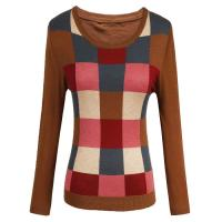 colorful checked womens knit sweaters in wool blended for spring wear Manufactures