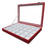 24 Compartment Pendant Display Tray , Velvet Jewelry Tray Red / White Faux Suede