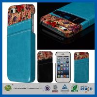 Flower Leather Pocket Back Hard Iphone 5 5S Apple Cell Phone Cases With Card Holder Manufactures