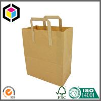 Quality Plain Brown Recycled Kraft Flat Handle Grocery Bag for sale