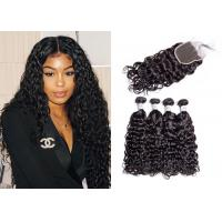 4 Pcs Brazilian Water Wave Hair Bundles With Closure Double Sewed Weft Manufactures