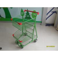 Quality Two Basket Grocery Shopping Trolley Wire Shopping Cart 656x521x1012mm for sale