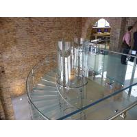 Laminated Tread Glass Building Curved Stairs Steel Wood For Shopping Mall Manufactures