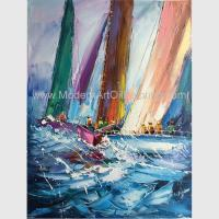 Buy cheap Abstract Palette Knife Sailing Boats Paintings, Hand Painted Thick Oil Canvas from wholesalers