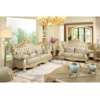 Luxury Living room Furniture European style Leather Sofa set wood flower by Joyful Ever Manufactures