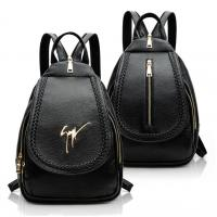 Daily Small Fashion Ladies Backpack Black Korean Style PU Leather Vintage Manufactures