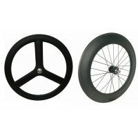 3k / 12k Finishing Carbon Track Bike Wheels Tri Spoke 23MM Width Anti Slip For Rainy Days Manufactures