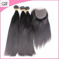 Queen Beauty Remy Straight Hair Natural Brown 5a Virgin Hair Bundles with Lace Closure Manufactures
