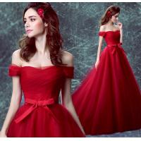 Off The Shoulder Red Crepe Boat Neck Gorgeous Small Train Evening Dress TSJY132 Manufactures