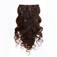 Dark Brown Clip In Colored Hair Extensions Body Wave Indian Virgin Hair 7A Grade Manufactures