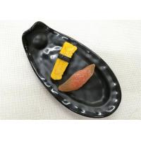 Length 25cm Weight 384g Porcelain Dinnerware Sets Boat-shape Black Melamine Plate Manufactures