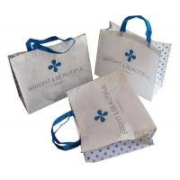 White and Blue 85gsm Nonwoven Fabric Carrier Bags With Matt Coated,White Piping,Button,Blue Handle Resable & Durable Bag Manufactures