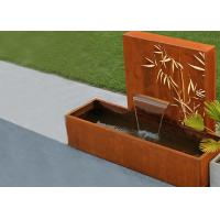 Square Rust Corten Steel Water Feature With LED Lights Customized Sizes Manufactures