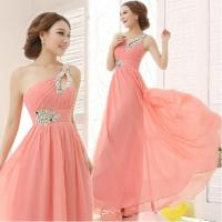 Lovely Pink Beaded A-line One-Shoulder Lace-up Chiffon Long Homecoming Dress Girls Formal Dress Manufactures