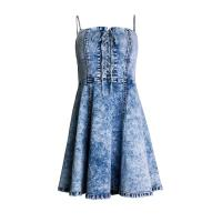 Women High Waist Slimming Casual Summer Day Dresses Tube Top Sexy Ruffled Sling Denim Dresses