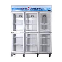 High Efficiency Commercial 6 Glass Door Refrigerator Fan Cooling Dual Compressor Manufactures