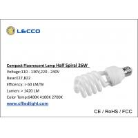 8000H Half Spiral Cfl Fluorescent Bulbs E27 Base Tricolor For Shop / Office Manufactures