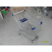 Zinc Plated 80L Supermarket Shopping Trolley With Bottom Tray And Plastic Parts Manufactures