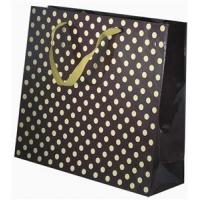 Resuable 210gsm Black Gloss Lamination Paper Carrier Bag With Ribbon Handle Manufactures