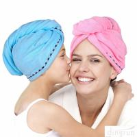 China Super Absorbent Microfiber Hair Towel Wrap Hair Turban Head Wrap with Button on sale