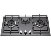 Natural Gas Tempered Glass Top Gas Hob , Glass Top Gas Stove 3 Burner Manufactures