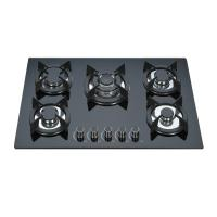 Black Tempered Glass Top Gas Hob 5 Burner Gas Cooktop Cast Iron Pan Support Manufactures