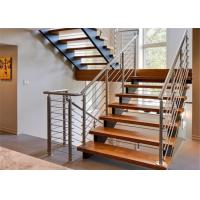 Customized Straight Flight Staircase Solid Wood Treads Double Stringer Diy Installation Manufactures