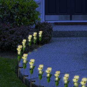 Quality 3LED Yellow Solar Rose Flower Lights Stem Solar Powered Garden Lamp Outdoor Decorative Landscape LED Rose Lights for sale