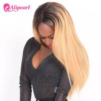Natural Looking Human Straight Lace Front Wigs 1B/27 Color Pre Pluck Baby Hair Manufactures