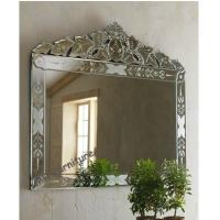 Quality Hanging Large Venetian Wall Mirror Etching Flowers Bridal Wedding Design for sale