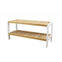 2 Layer 26mm Depth 10KG Bamboo Shoe Rack Manufactures