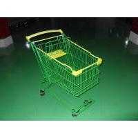 Colored Coated Wicker Shopping Trolley with curved plastic handle