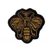 Gold Bee Shape Embroidered Iron On Patches , Kids Embroidery Machine Patches Manufactures