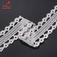 Stretch Border Water Soluble Lace Trim / White Lace Ribbon 4.5cm Width Manufactures
